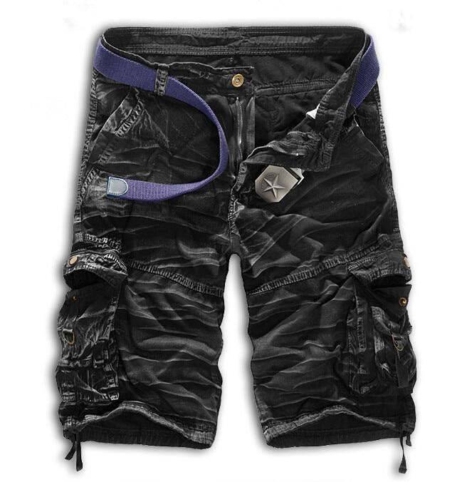 Мужские хлопковые шорты, новинка, мужские модные камуфляжные шорты Карго размера плюс, повседневные камуфляжные шорты с несколькими карманами в стиле милитари - Цвет: Black camouflage