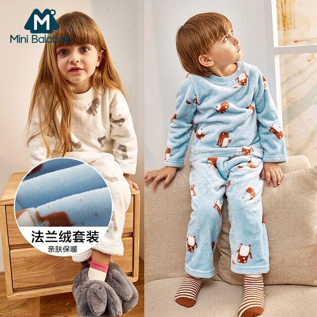 meilleurs prix magasiner pour l'original design de qualité Mini Balabala enfants pyjamas ensemble bébé Long chaud sous vêtements  d'hiver pour garçons filles de nuit haut rigide Pan