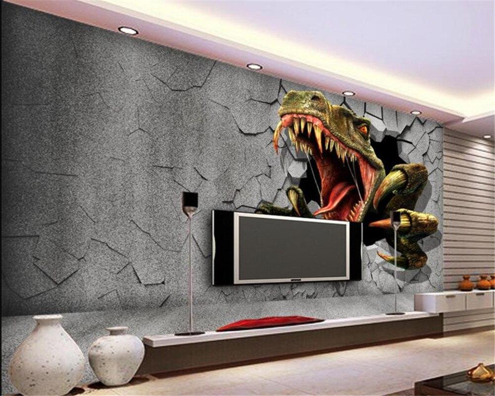 US $8 85 OFF Beibehang Kustom 3D Wallpaper Dinding Bata Dinosaurus TV Dinding Kertas Dinding Rumah Dekorasi Kamar Anak Anak Ruang Tamu Latar