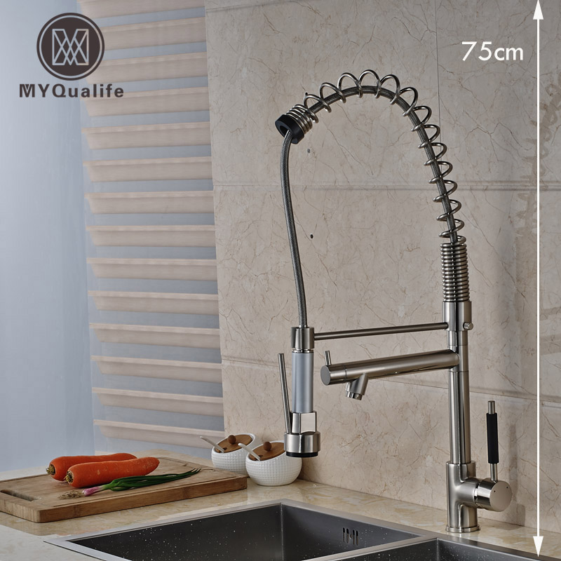 Brushed Nickel Two Swivel Spout Kitchen Sink Faucet Single Handle Spring Kitchen Hot and Cold Water