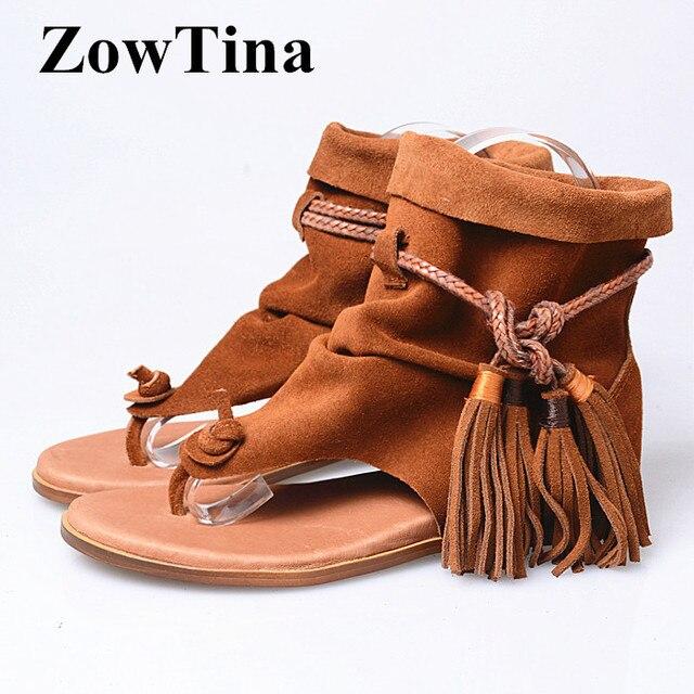 6a1787d8be0d7 Women Brown Suede Flats Sandals Bohemian Fringe Ankle Strap Flip Flops  Ladies Shoes Fashion Design Beach Summer Sandalias Shoes