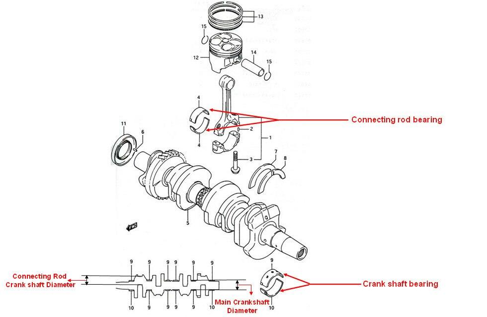 12 шт./компл. двигателя мотоцикла Запчасти для Honda CBR400 CBR400RR CBR29 NC23 NC29 NC31 NC36 STD основного коленчатого вала подшипник