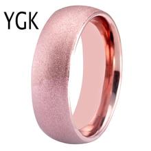 цена 8mm Women Ring Rose Golden Tungsten Carbide Ring Sandblasted Wedding Band Classic Men Jewelry Anniversary Gift Drop Shipping в интернет-магазинах