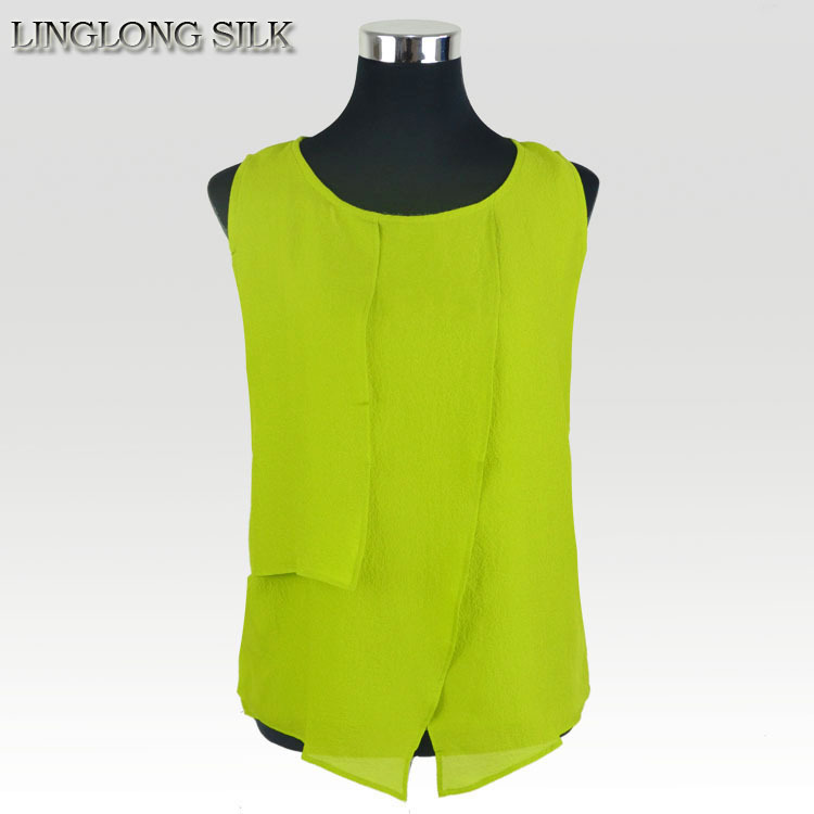 100 Silk Crepe Shirt Pure Natural Silk Fabric Exclusive Style Vest Women New Spring Summer Style