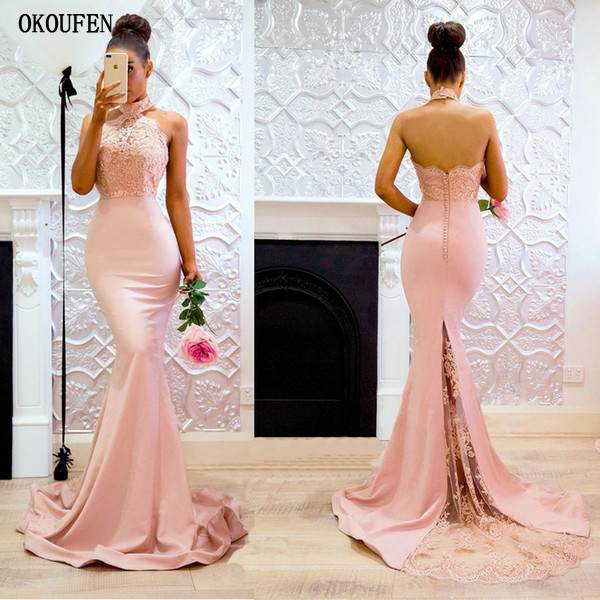 2019   Prom     Dresses   Blush Mermaid Halter Sheer Train Appliques Sexy Special Occasion Evening Party Gowns vestidos de fiesta largos