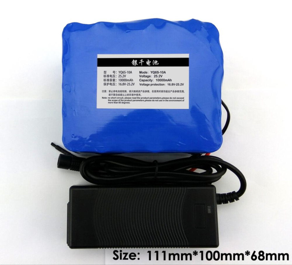 24 V 10Ah 18650 Batterie 25.2 V 10000 mAh Rechargeable Batterie Pour Vélo Électrique/Portable outils/Médical Portable Chargeur