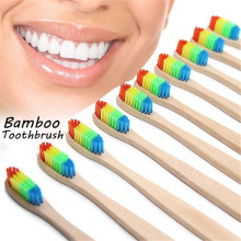 Natural Bamboo Handle Toothbrush Rainbow Colorful Whitening Soft Bristle Eco-friendly Teeth Brush Oral Care
