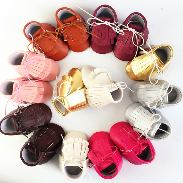 2016 New Arrival Hot Sale Tassle Decor Hot Sale Breathable Handmade PU Leather Soft Soled Lacing Up Lovely Infants First Walker