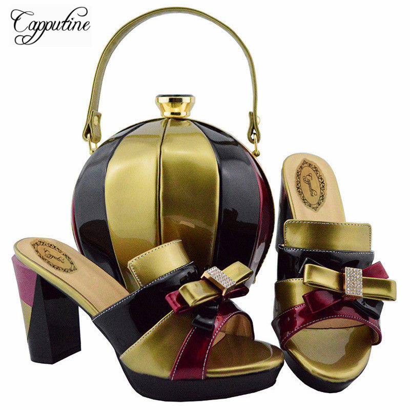 Capputine 2018 Latest Italian Shoes With Matching Bags Set African Style Women High Heels Shoes And Bag Set For Wedding YD003 africa style pumps shoes and matching bags set fashion summer style ladies high heels slipper and bag set for party ths17 1402