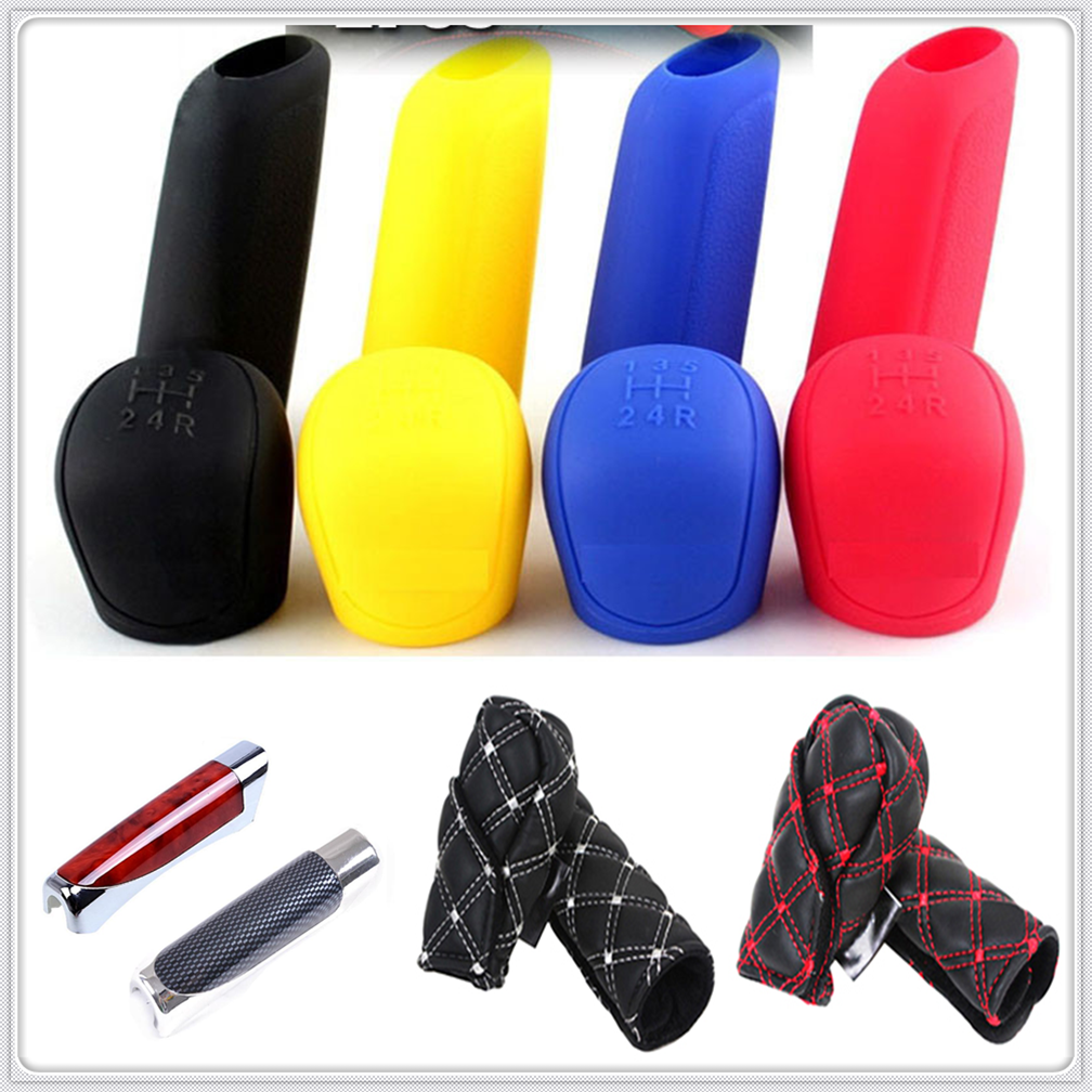 Car suv rubber Gear Shift Knob Handbrake Cover stall <font><b>Case</b></font> <font><b>for</b></font> <font><b>Hyundai</b></font> HND3 Veloster i10 LPI 30blue R cee d ix <font><b>Tucson</b></font> IX35 image
