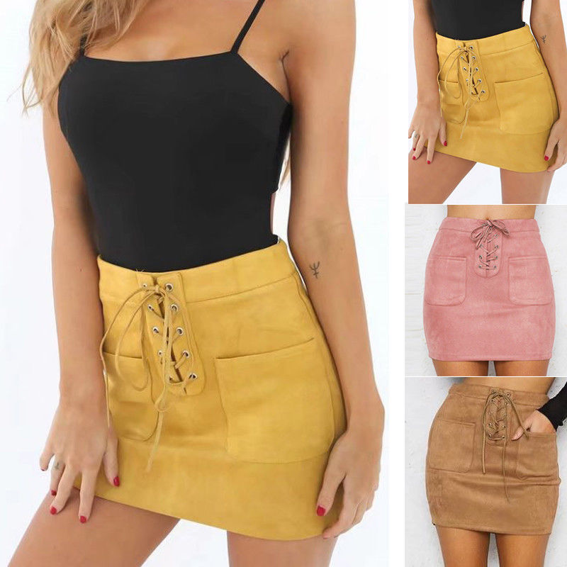 Women Leather Suede Lace Up Bandage High Waist Party Pencil Mini Skirt Ladies Sexy Clothes