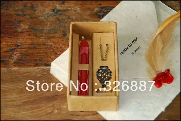 gift box of Special stamp chains necklace 26 letter decoration  vintage series sealing wax stamp  DIY make funny special make 100