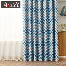 Modern Geometric Print Blackout Curtains For Living Room Window Blue Wave Pattern Bedroom 80% Shading Custom Made Blins