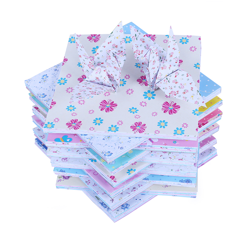 100pcs/Set 15*15 Cm Baby Lovely DIY Square Floral Flower Pattern Origami Paper Folded Handmade Paper Craft Decor Models Toys