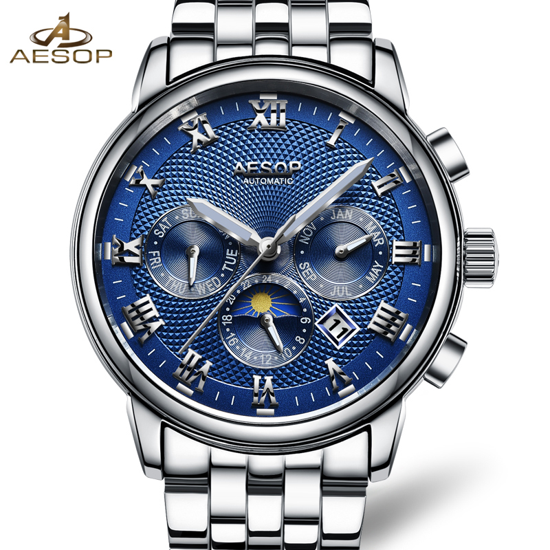 Lunry AESOP silver watch men Moon Phase waterproof date stainless steel blue dial Automatic Mechanical watch relogio masculine luxury moon phase watch men sapphire glass stainless steel waterproof automatic machine date watch relogio masculine