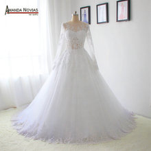 AMANDA NOVIAS Long sleeves transparent sexy wedding dress