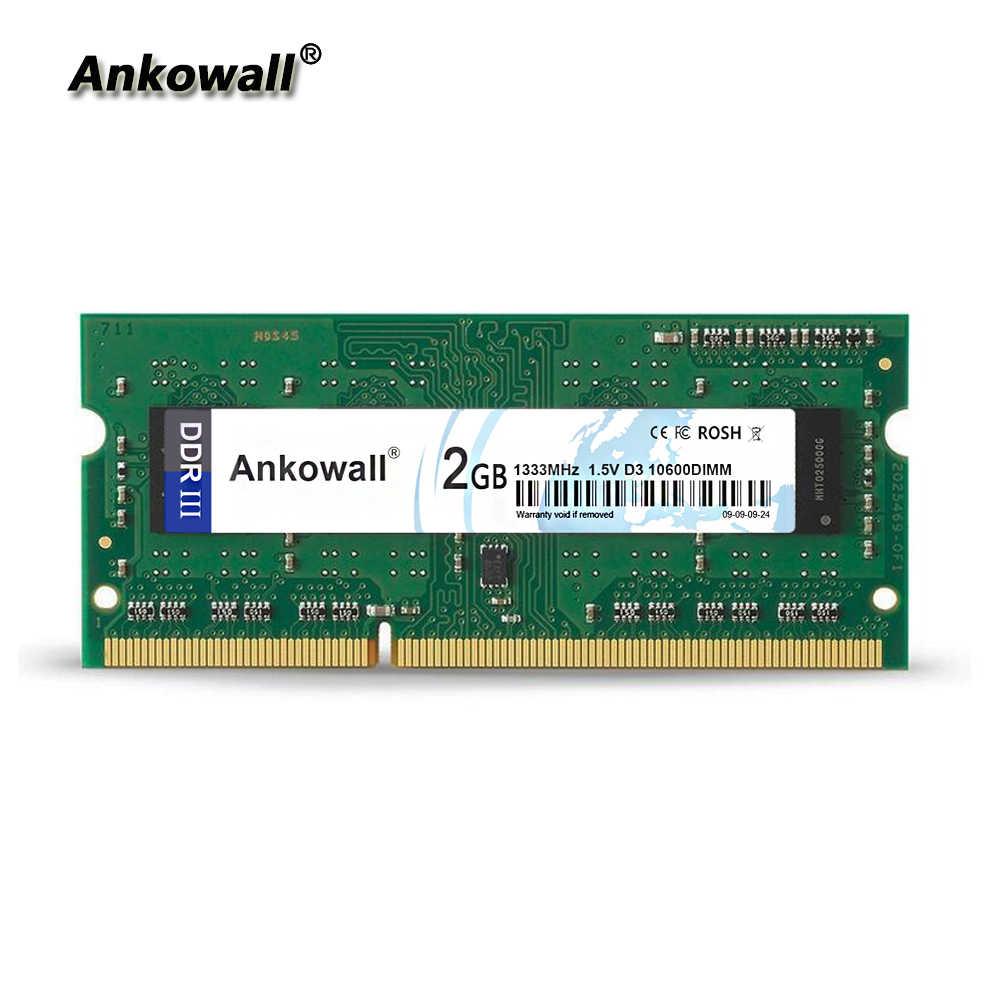 Ankowall DDR3 SO-DIMM 2GB RAM 1333/1600 MHz portátil memoria PC3-10600 portátil RAM
