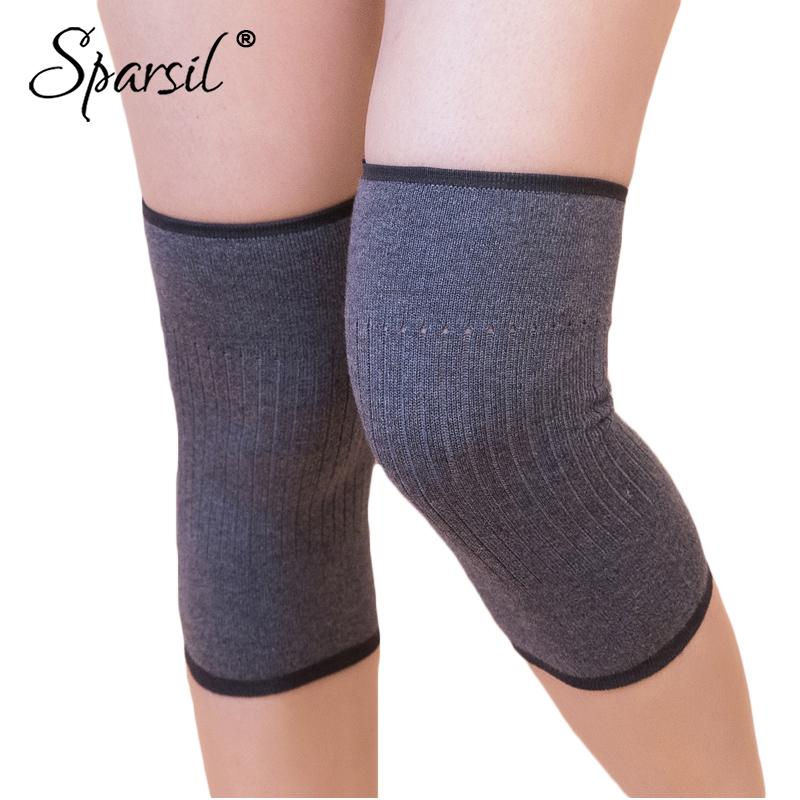 Sparsil Winter Men Women Wool Warm Knitted Kneepad Sports Knee Protector Protective Elastic Cashmere Knitted Kneepad Kneelets