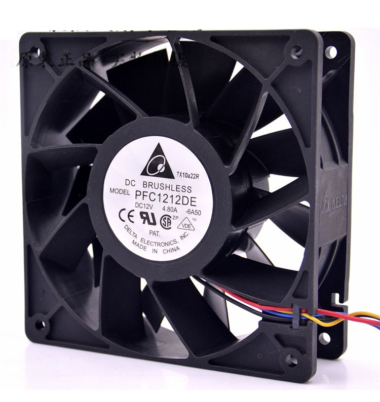 SSEA New Big air volume cooling fan for Delta PFC1212DE 120*120*38 mm 12038 12CM DC 12V 4.80A server inverter fan free delivery 4e 115b fan 12038 iron leaf high temperature cooling fan 12cm