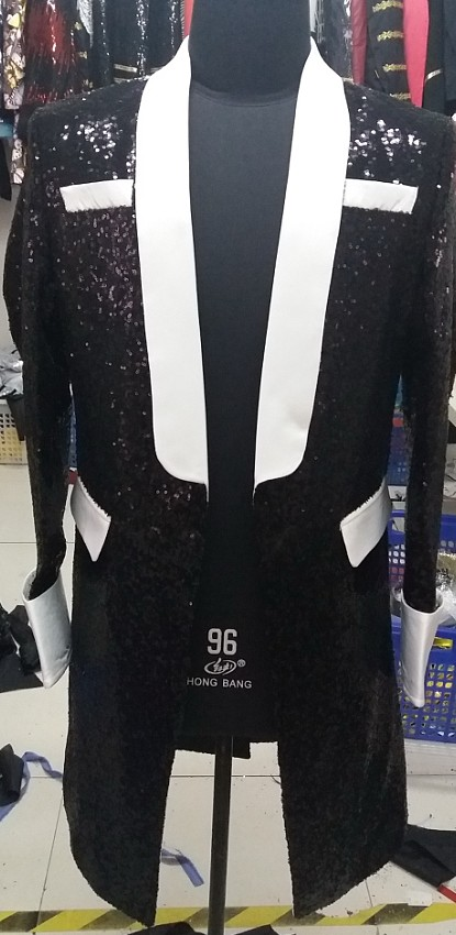 Freeship 100%real mens black full sequins white collar tuxedo jacket/event/studio/sing/stage performance/jacket/can customs size