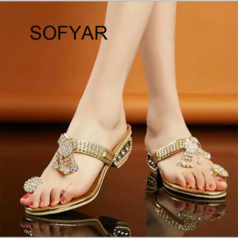 Summer autumn flip flop crystal med heels fretwork heels slipper beach shiny sandals outdoor slides Hollow out wedges slipper women flip flop women flat sandals female outdoor slipper anti skidding causal beach slipper women flip flop fashion slides