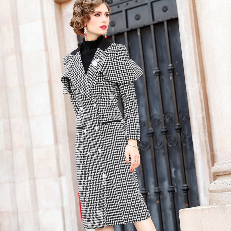 Pencil Office thickening dress 2019 new Women ladies Occupation Party Dress Plus Size winter Vintage warm