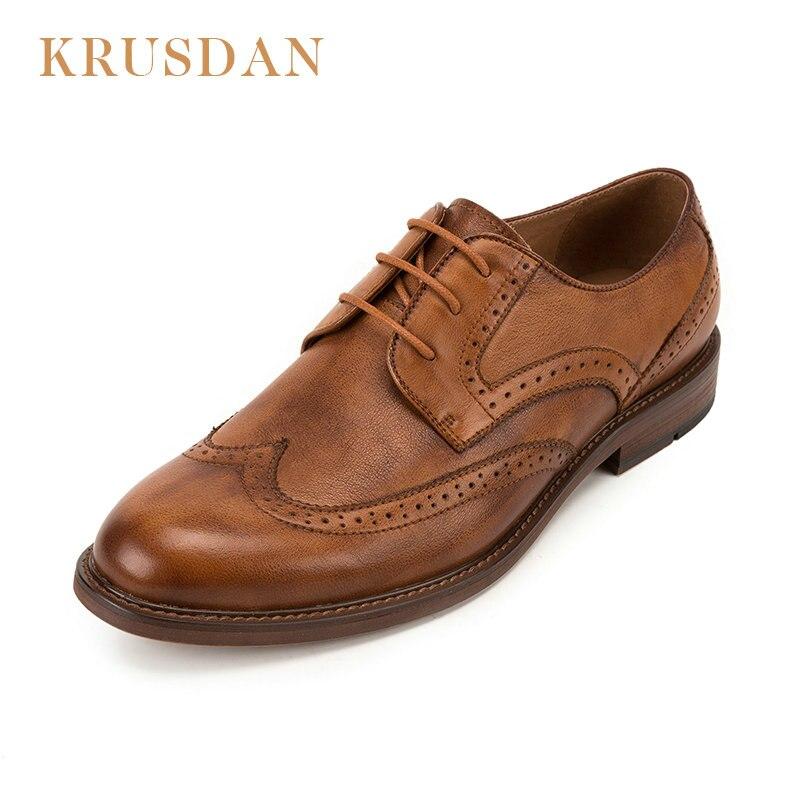 KRUSDAN marka oryginalne skórzane buty męskie cielca styl skóry wołowej mężczyzn buty w stylu casual zasznurować Oxford buty męskie wypoczynek skórzane buty w Oxfordy od Buty na  Grupa 1