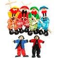 Marioneta marioneta Marioneta de Mano Del Bebé juguetes de Cuerda de Tracción Tradiciones Actividad Conjunta Muñeca Vintage Divertido Payaso De Juguete De Madera Juguete Clásico
