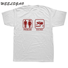 WEELSGAO Fashion Funny Problem solved Drift T Shirt Men Short Sleeve Cotton Car Drift T-shirt Tops Tshirt Man Clothing