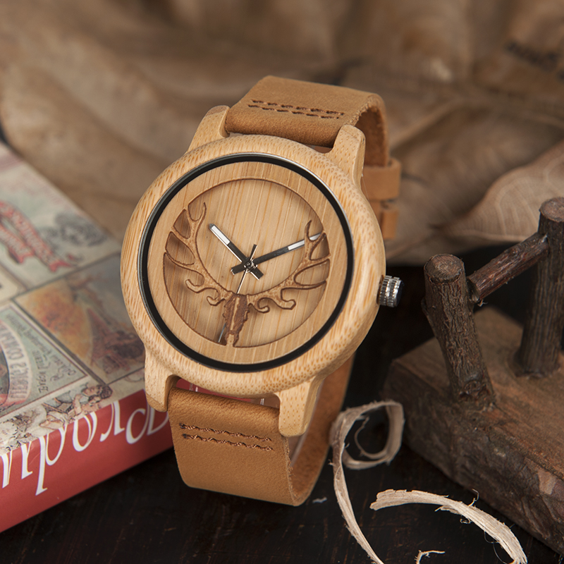 BOBO BIRD Skeleton Bamboo Watches for Men and Women With Deer Buck Head Design Wooden Quartz Watch relogio masculino C-A27 2017 luxury watch bobo bird wood watches for men wooden band wristwatch with bamboo box relogio masculino b n07