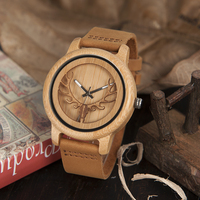 Luxury New Design Hollow Buck Head Bamboo Wooden Watch With Genuine Leather Band Men Women Luxury
