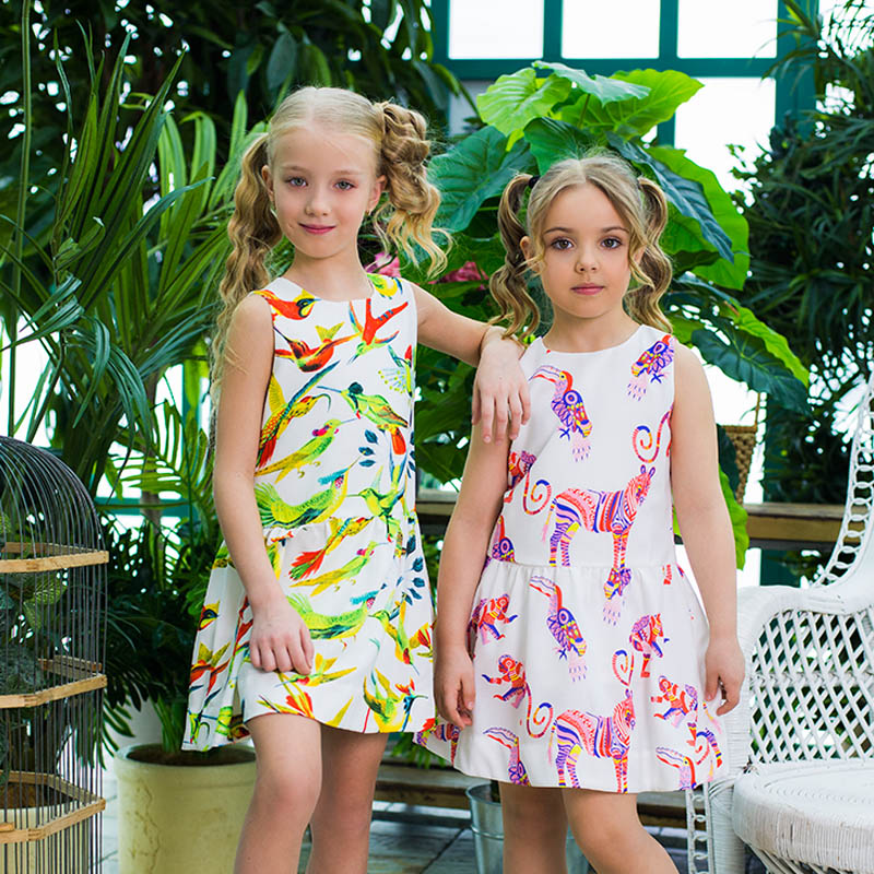 Unicorn Girls Dress Summer Children Clothing Causal Girl Clothes Sleeveless Animal Printed Girls Dresses for Party and Wedding