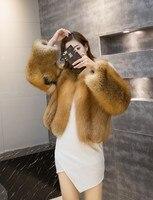 Сто Лисий мех, красная лисица, полное кожаное женское теплое пальто, серебряная лисица короткое платье, модные длинные рукава. летние скидки