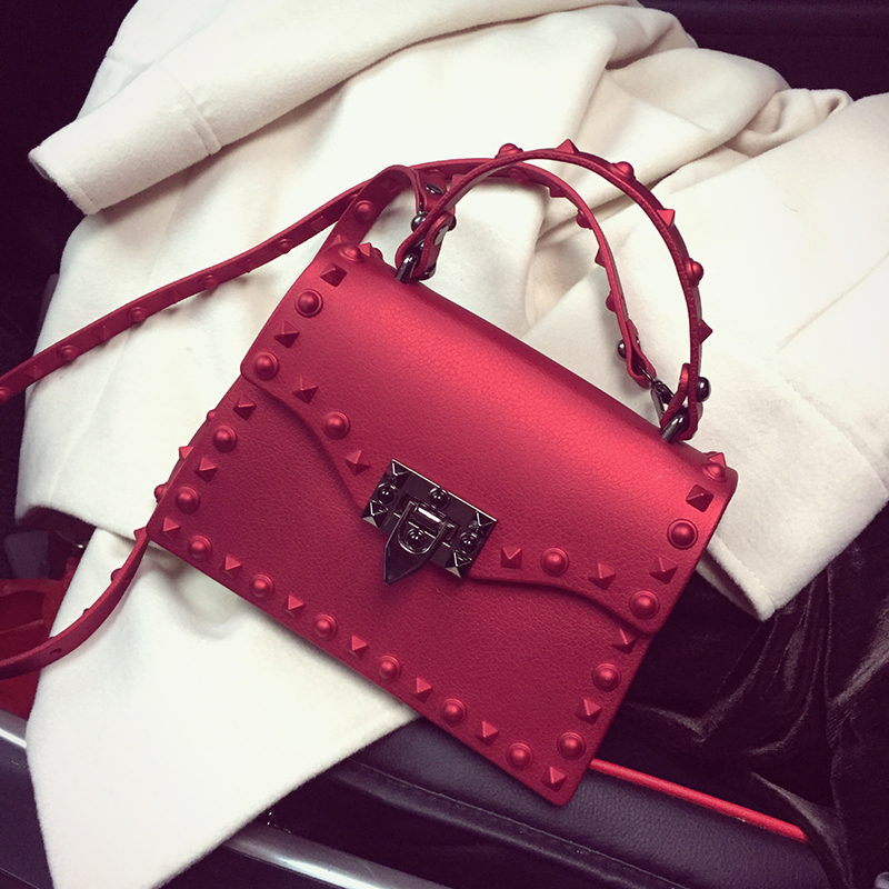 2017 Fashion Women PU Leather Candy Handbags Small Rivet Messenger Bag Female Crossbody Shoulder Bags Mini Jelly Bag For Gils ...