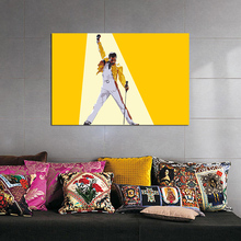 Freddies Mercuries Queen Yellow Leather Jacket Canvas Painting Print Living Room Home Decor Modern Wall Art Oil Poster