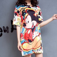 Fashion Summer Dress Women Cartoon Print Short Sleeves Mickey Europe America Plus Size Style Casual For