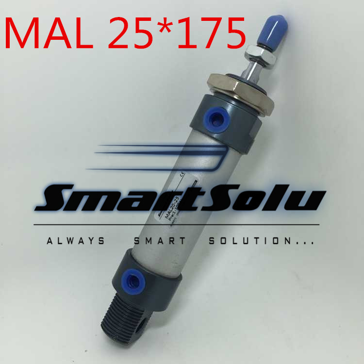 Free Shipping MAL 25-175 Aluminium Alloy Pneumatic Mini Air Cylinder 1/8 Port  Single Rod Double Acting 25*175 mm single rod double acting pneumatic cylinder cdj2b16 80