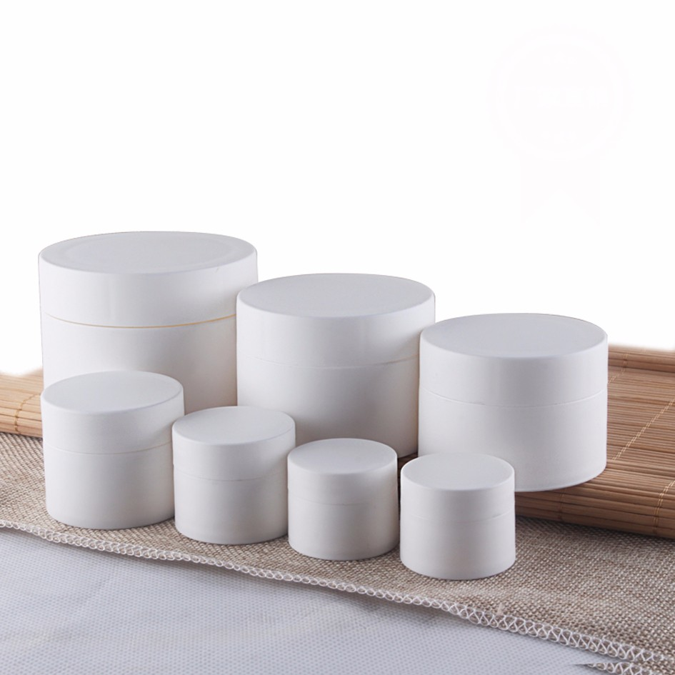 50pcs/lot 3g 5g 10g 15g 30g 50g 80g High quality matte plastic empty cream jar cosmetic container for Cosmetic Packaging 200pcs x 200g big frosted abs plastic cosmetic packaging bath salt jar with wooden spoon