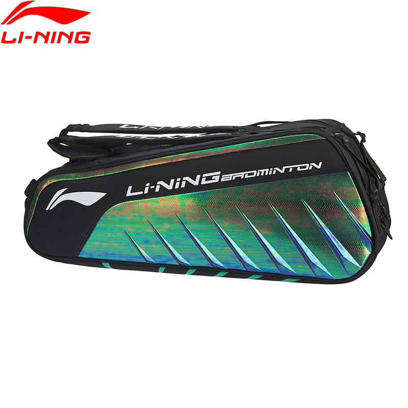 Li-Ning Badminton Racket Bag 6-pack Shoe Pocket Professional Sports Athletic Racquet Bag ABJP008 ZYF330