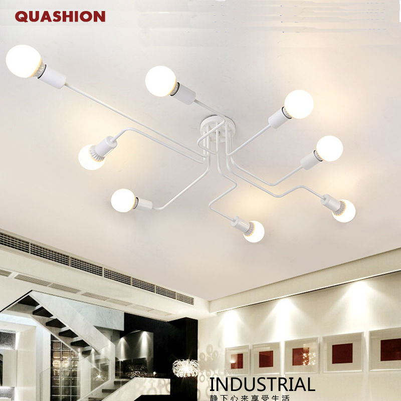 Vintage Ceiling Light Iron Multiple Rod Creative Retro Personality Luminaria Industrial Led Home Lighting Fixture Ceiling Lamp