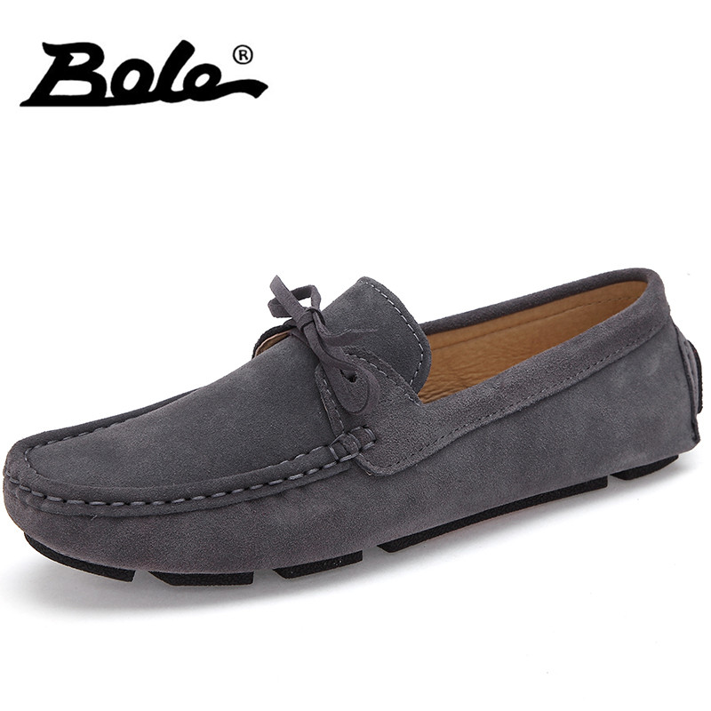 BOLE Summer New Style Cow Suede Leather Men Loafers British Style Fashion Slip on Men Driving Shoes Male Boat Flats Men Footwear branded men s penny loafes casual men s full grain leather emboss crocodile boat shoes slip on breathable moccasin driving shoes