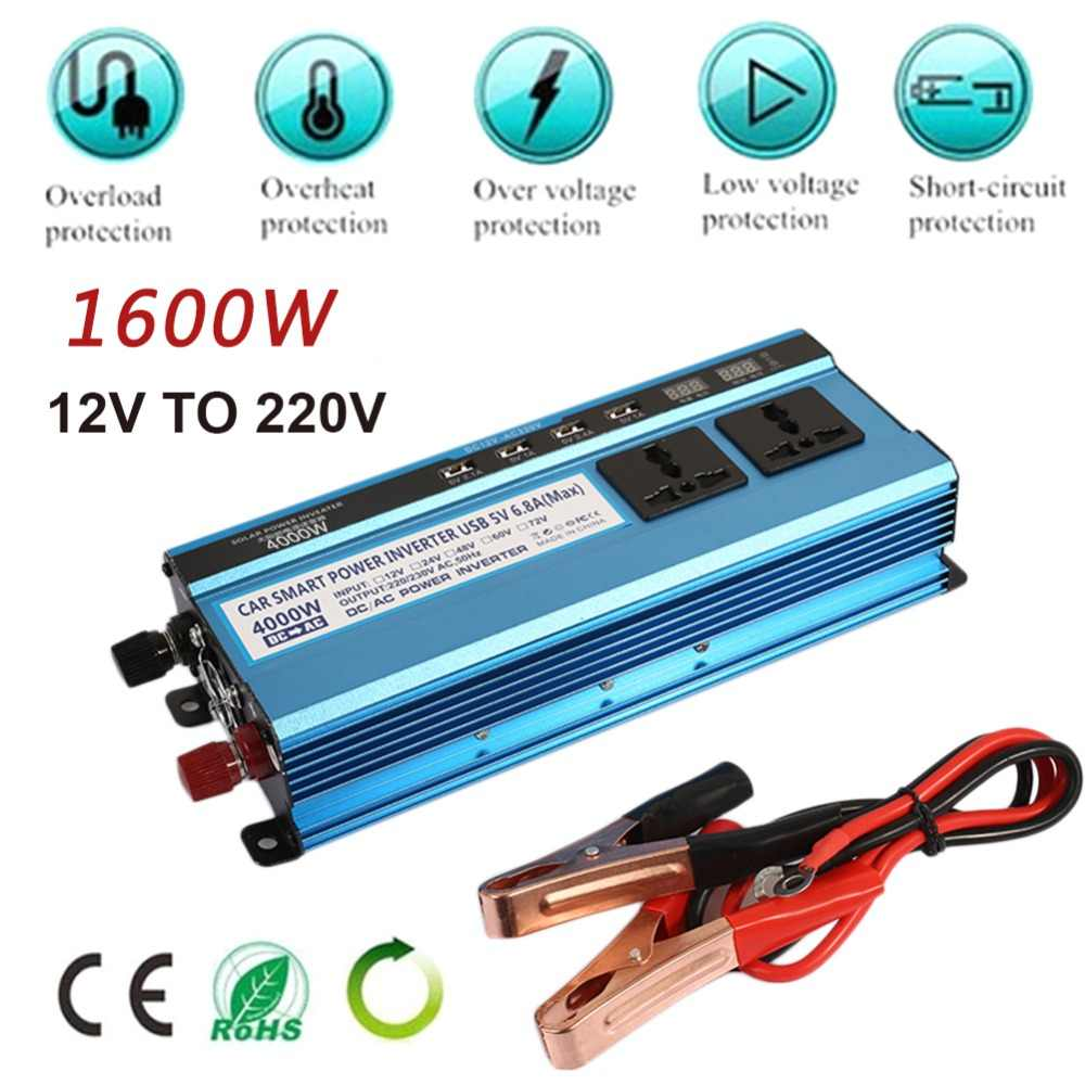DC12V To AC220V 4 USB 2200W Modified Sine Wave Car Inverter Portable High Performance Home Converter Power Supply Charger