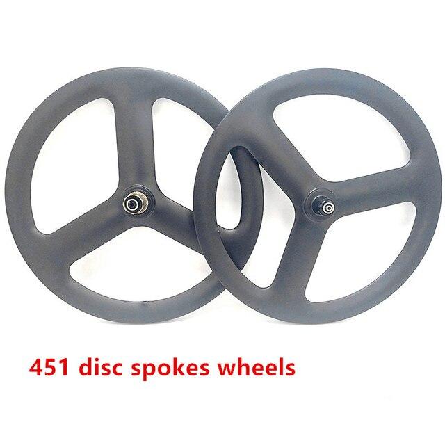 451 spokes 20inch 3 spokes wheels V brake 20 inch disc brake 3 spokes wheels 451 spoke folding bicycle carbon wheelset