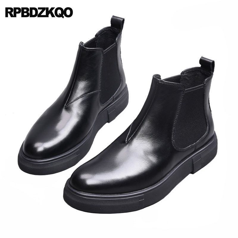все цены на Black Luxury Ankle Full Grain Leather Short Booties Winter Boots Genuine Chelsea Fall Men Slip On Casual Shoes Faux Fur Korean