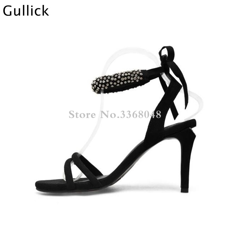 Hot Sale Crystal Beading Peep Toe Black Woman Leather Sandals High Heels Back Lace Up Ladies Party Dress Shoes Zapatos MujerHot Sale Crystal Beading Peep Toe Black Woman Leather Sandals High Heels Back Lace Up Ladies Party Dress Shoes Zapatos Mujer