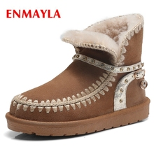 ENMAYLA Cow Suede  Round Toe Slip-On  Ankle  Women Shoes  Ankle Boots for Women Botines Mujer 2018 Snow Boots Size 34-43 ZYL1517 gray zipper suede ankle slip on women boots