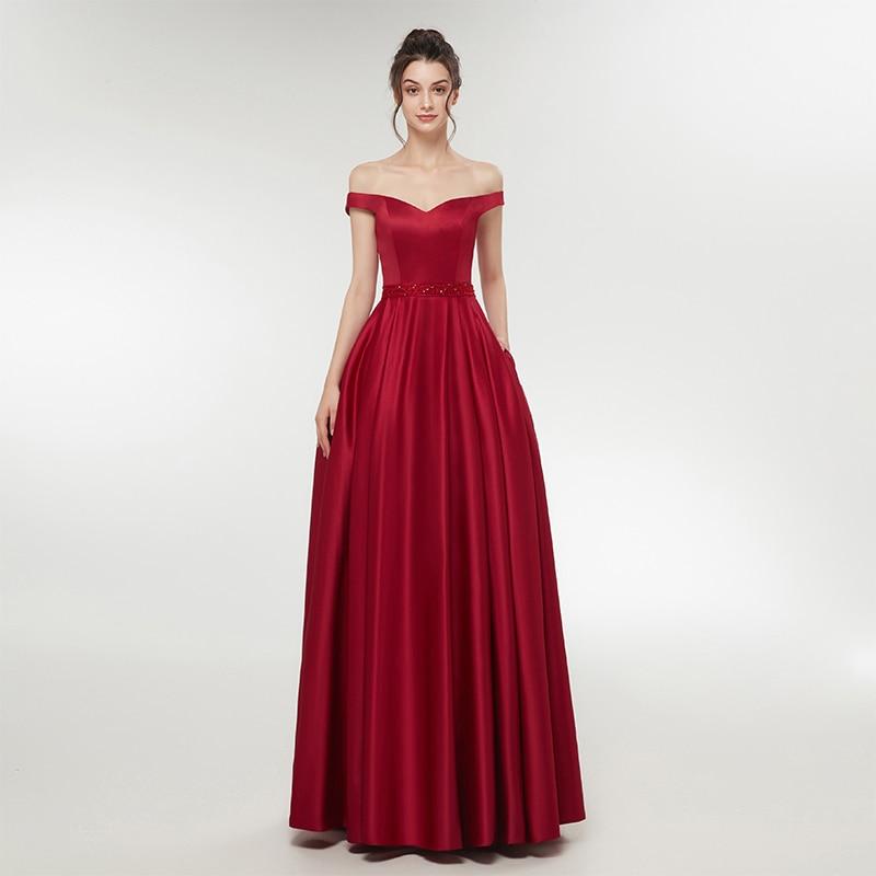Простые дешевые бордовый телесный Розовый Вечерние платья с открытыми плечами Атлас официальная Вечеринка бисером пояса vestido de festa