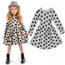 2016 spring girl Kids Dress Cartoon cat pattern Princess dress Brands Long sleeve Casual Dresses Elasticity Bottoming dress girl