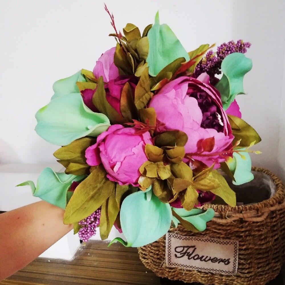 Bouquet De mariage romantique décorations De mariage artificielle pivoine pourpre Calla Lily Bouque De Noiva accessoires De mariée