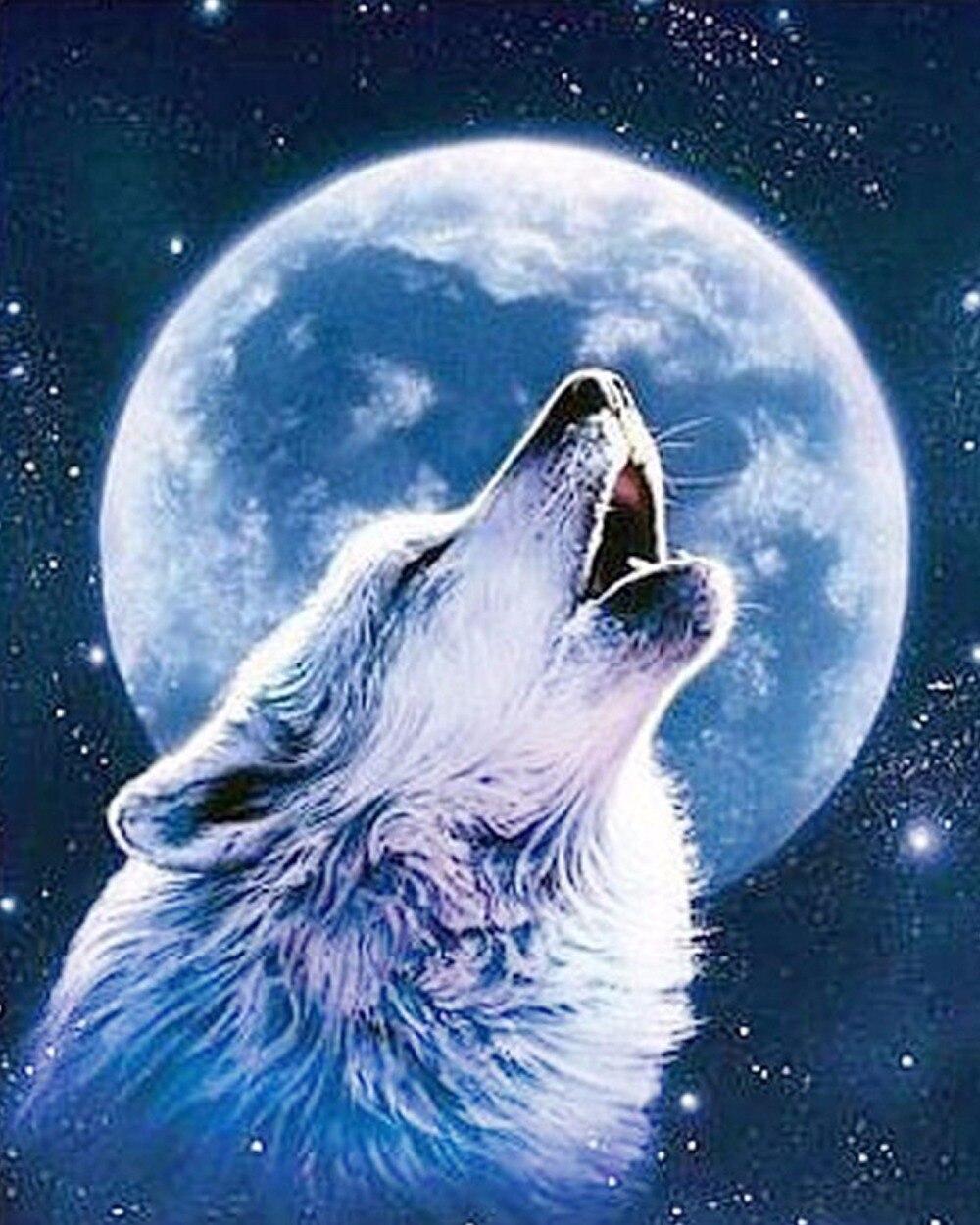Lupi luna diy 5d diamante diamante ricamo immagini disegni for Disegni di lupi facili